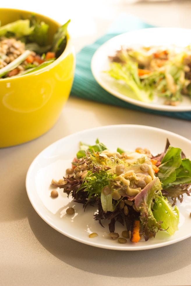 salada acolhedora de lentilhas, folhas verdes e cenoura-3